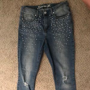 Seven7 Pearl Embellished Skinny Jeans